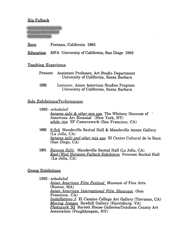 Fulbeck, Lawrence Kip - Selected Document - artasiamerica - A - Sample Artist Resume
